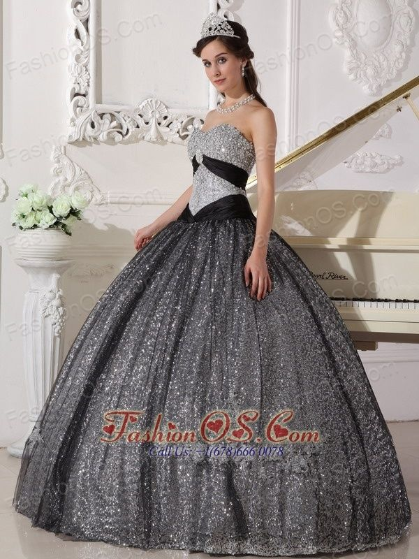 Beautiful Black Quinceanera Dress Sweetheart Sequined And Tulle