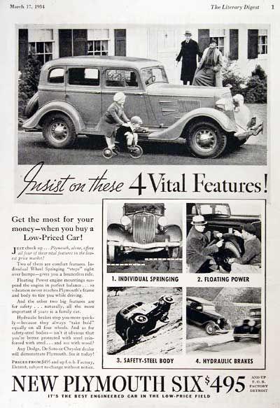 1934 Plymouth Six Sedan original vintage advertisement  Insist on