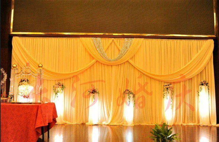 Wholesale wedding backdrops Romantic 4x8 Meters Ice Material Soft Wedding Backdrops Wedding stage decor