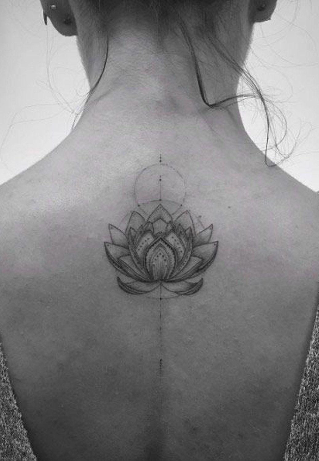 Geometric Lotus Upper Back Placement Tattoo Ideas For Women At Mybodiart Com Back Tattoo Women Upper Tattoos Girl Neck Tattoos