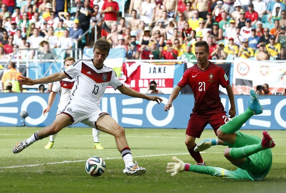 Germany Thomas Mueller scoring against Portugal World Cup