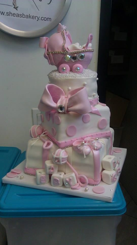 Pink princess baby shower cake with bling, bows, and baby ...