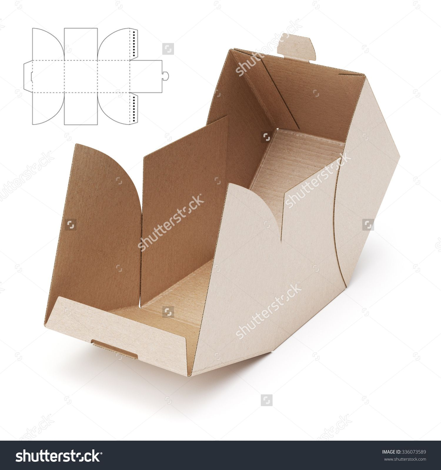 empty open cube box with die cut template stock photo 336073589   shutterstock