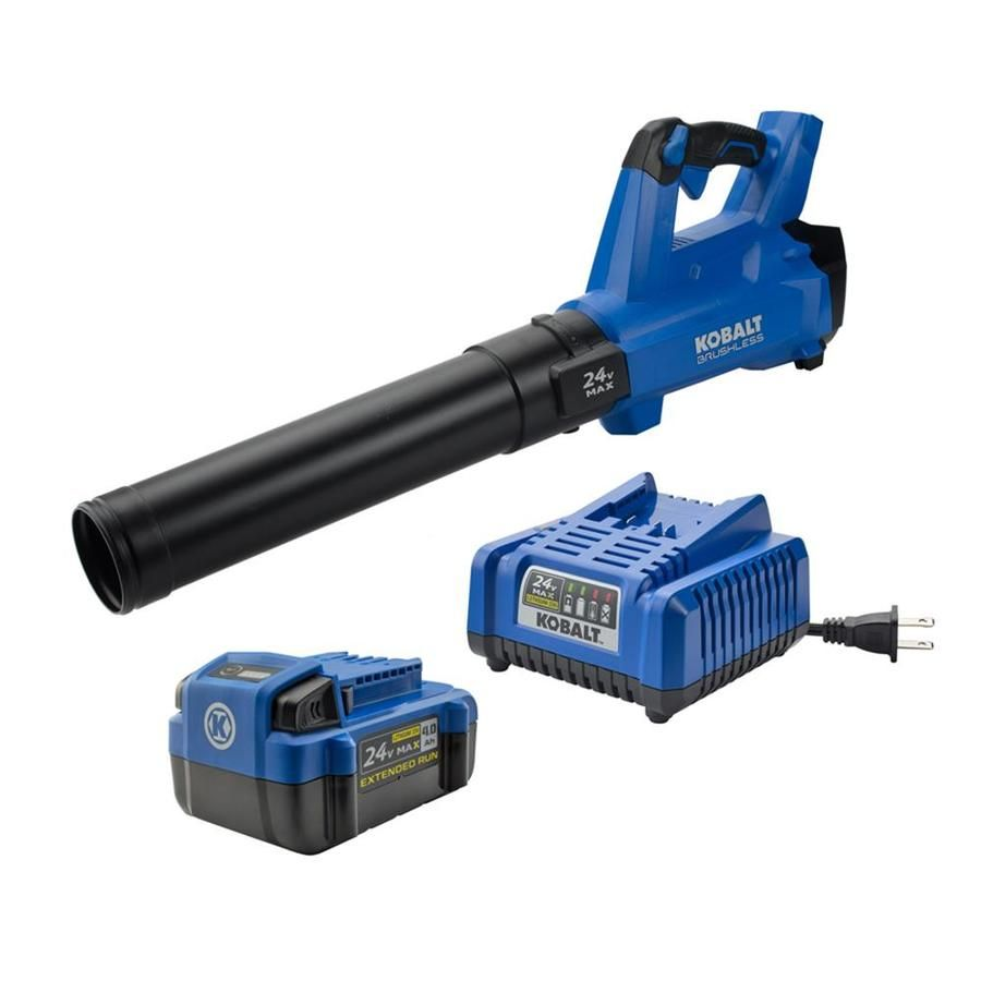 Kobalt 24 Volt Lithium Ion 410 Cfm 100 Mph Light Duty Brushless Cordless Electric Leaf Blower Battery Included Leaf Blower Tools Lowes