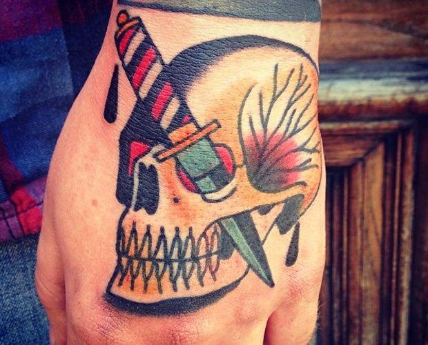 knife stabbed eye skull hand tattoo   Tattoo Flash ...