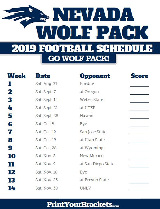 Printable 2019 Nevada Wolf Pack Football Schedule Nevada Wolf Pack Nevada Wolf Pack