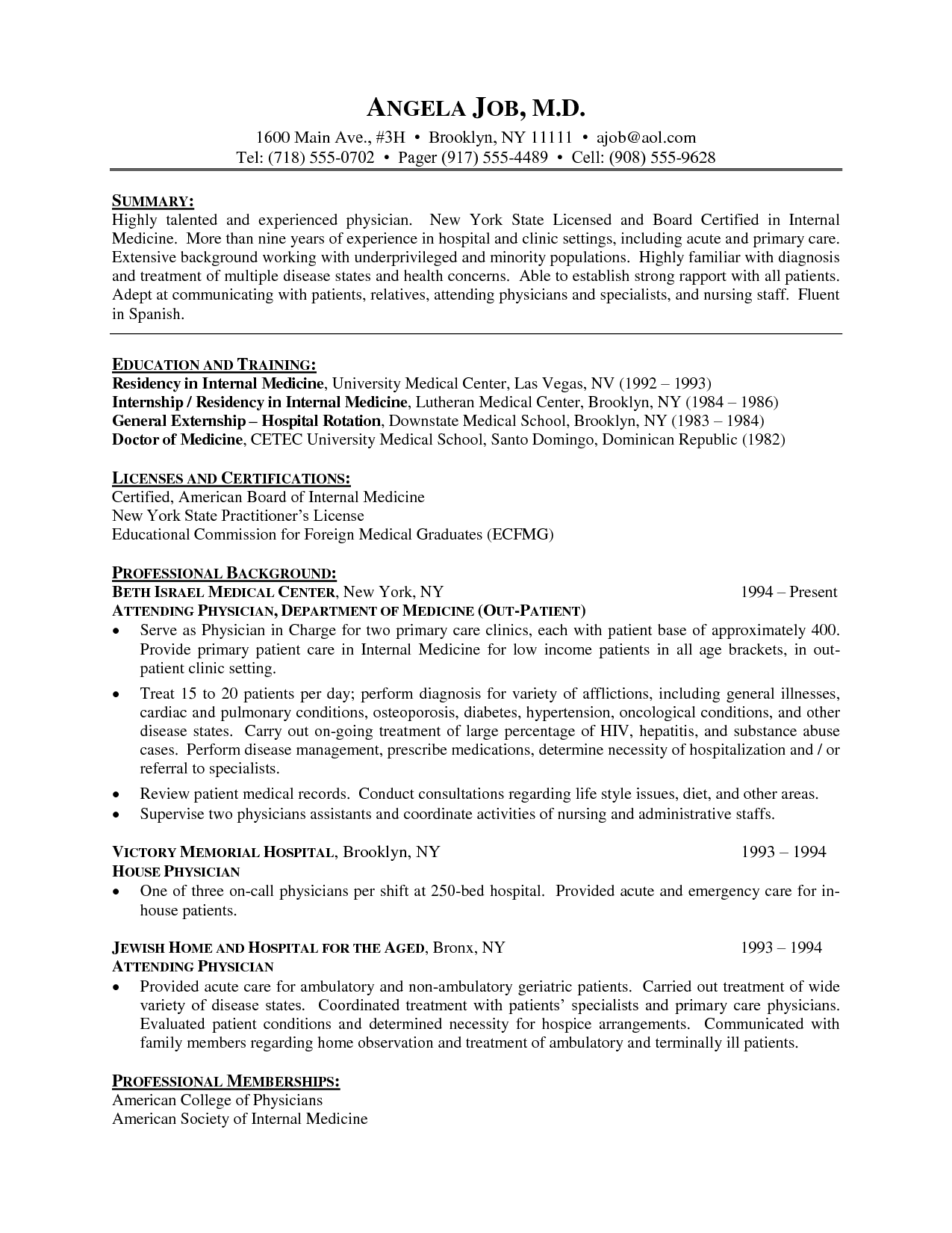 resume format for medical practitioner