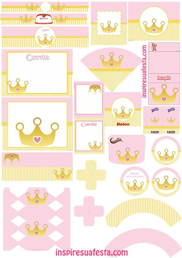 kit-digital-princesa-coroa-dourada | Kit's para Festas ...
