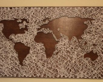 Items similar to world map string art on etsy ideias diy items similar to world map string art on etsy sciox Gallery