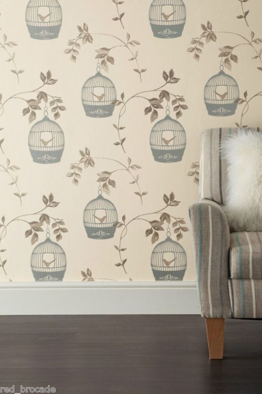 Feature Wallpaper Birdcage Leaf Trail Birds Cream Mink Gold Silver Stunning Ebay Feature Wallpaper Birdcage Wallpaper Striped Wallpaper