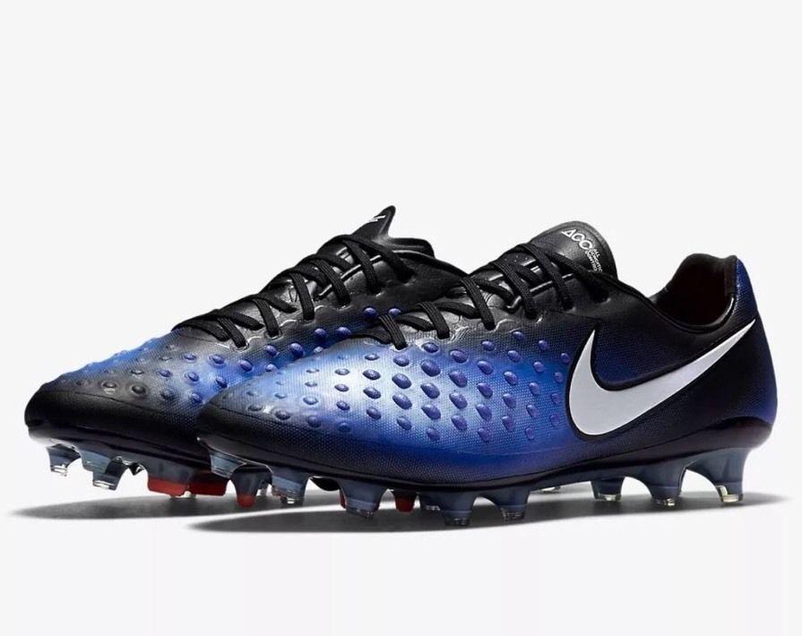 1c3a8ffda80f Nike Magista Opus II FG Soccer Cleats Mens 9.5 Black Paramount Blue 843813  018  Nike