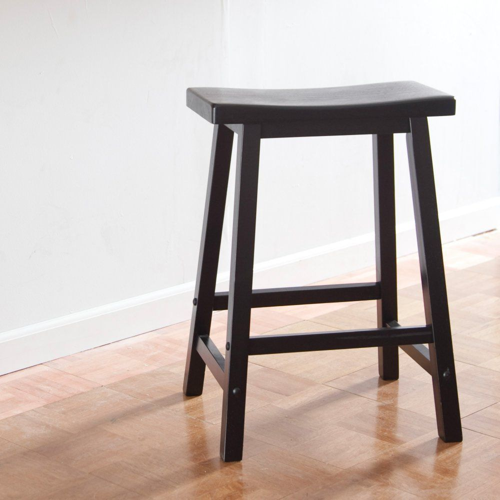 Winsome Wood 24 Inch Rta Single Saddle Seat Counter Stool Black