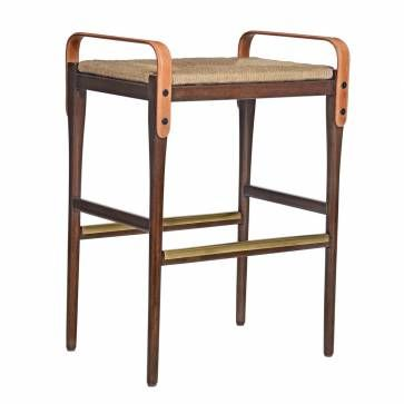 Belted Backless Bar Stool With Woven Seat Brass Details And