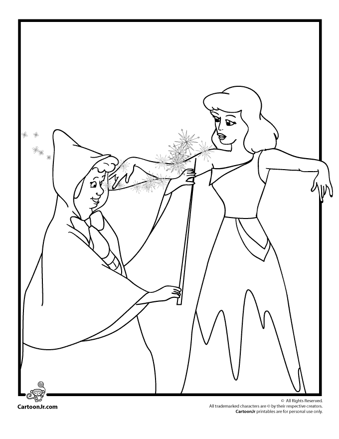 Cinderella And Her Fairy Godmother Coloring Page Woo Jr Kids Activities Cinderella Coloring Pages Disney Princess Coloring Pages Princess Coloring Pages