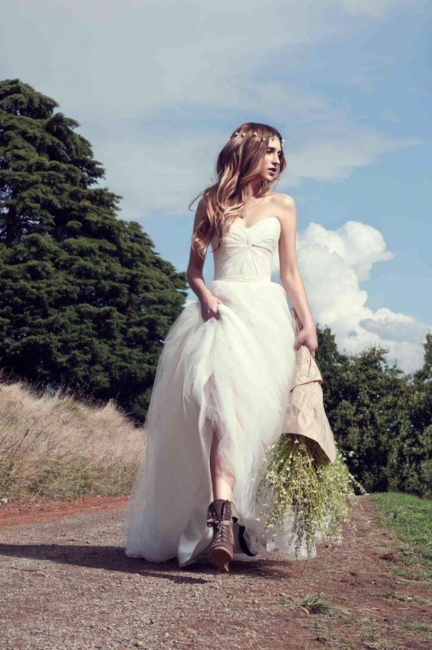 50s inspired wedding dress with illusion neckline