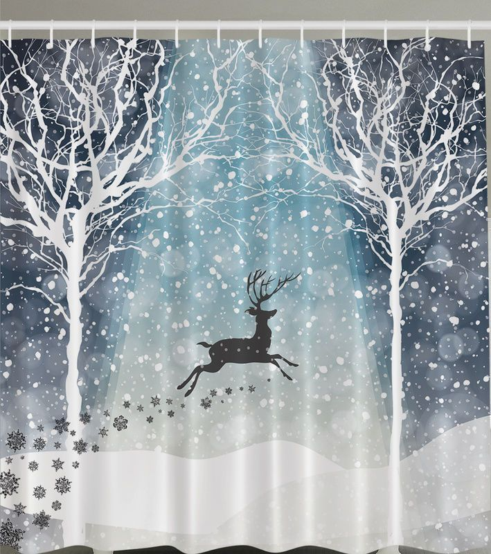 Reindeer Forest Snow Fabric SHOWER CURTAIN Christmas Holiday Trees ...