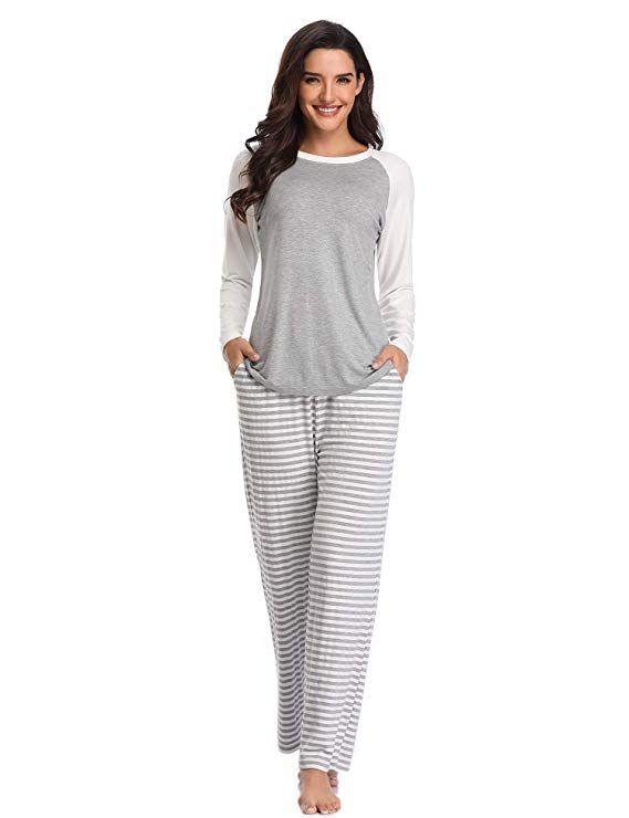 10f8bcc3e8c6 Lusofie Pajamas Set for Women Long Sleeve Raglan Sleepwear Top   Striped Pj  Pants (Grey