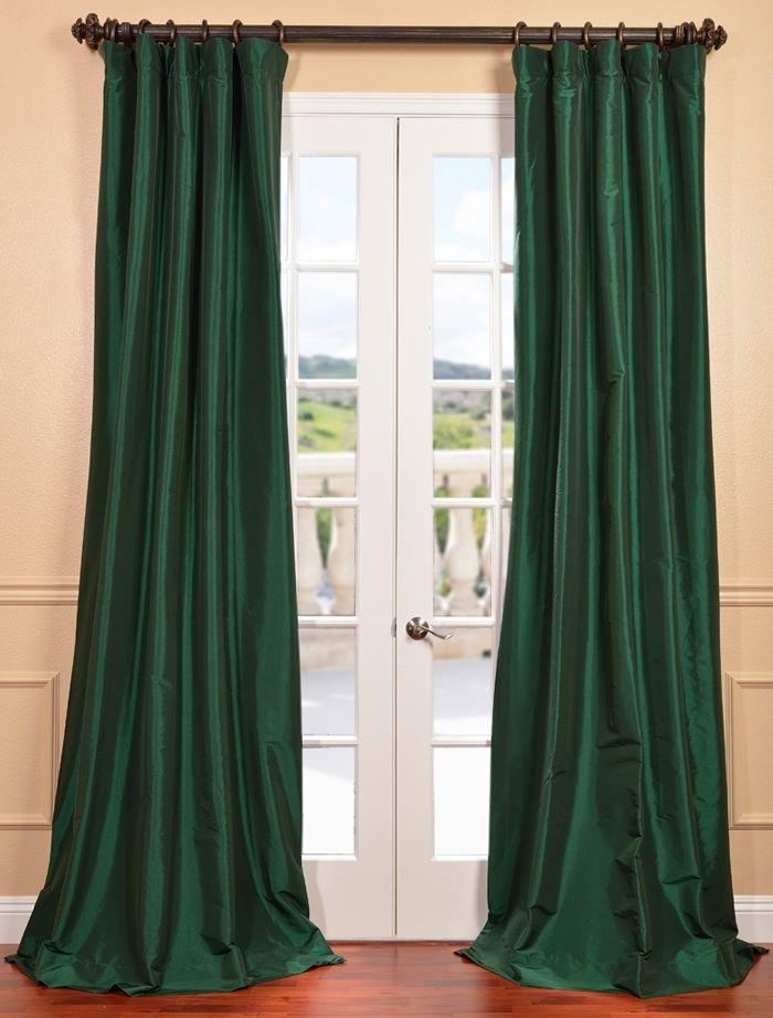 Emerald Green Faux Silk Taffeta Curtain Green Curtains Living