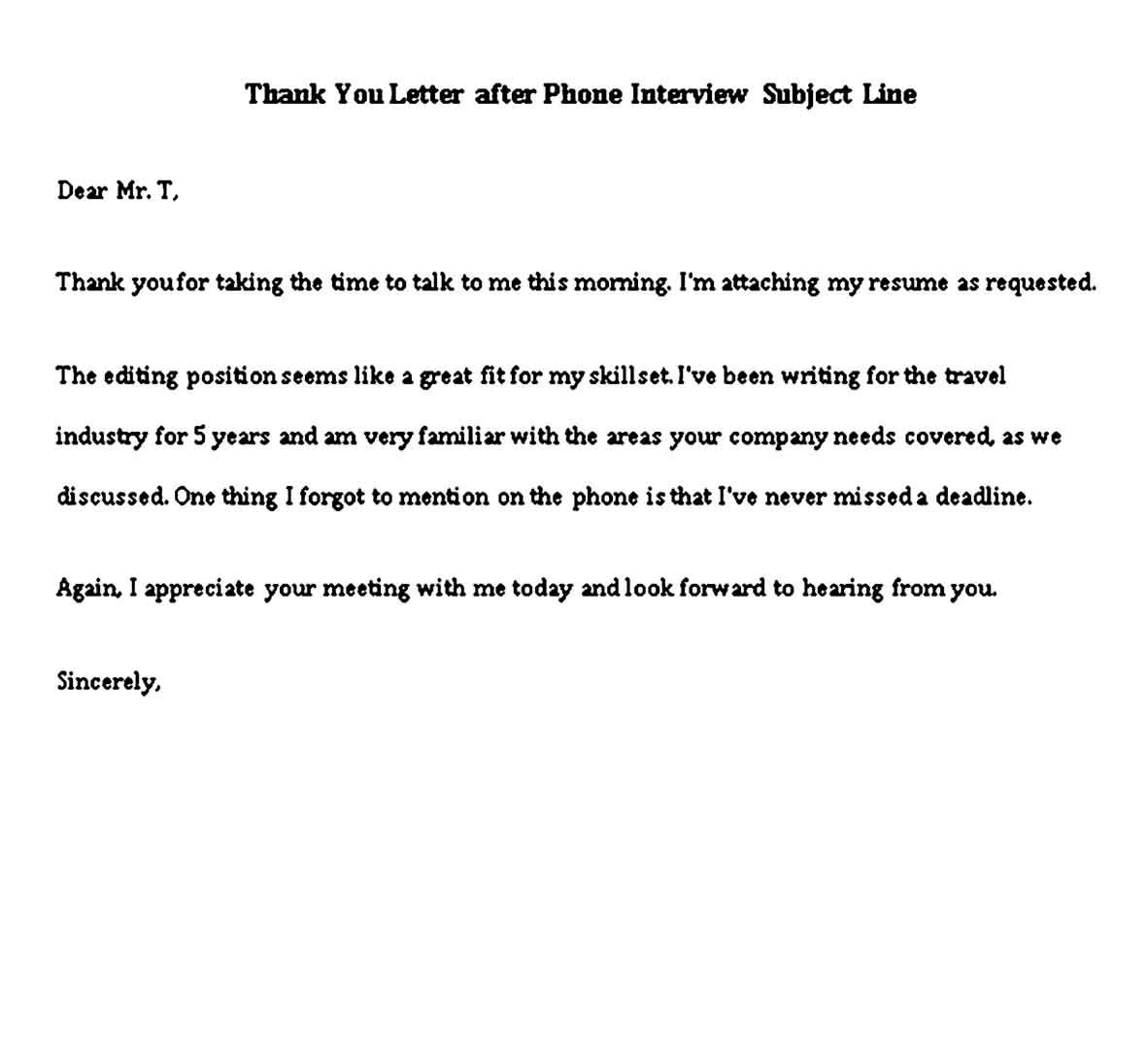 Thank You Note After Phone Interview Sample Phone Interviews Thank You Letter Thank You Notes Graduation