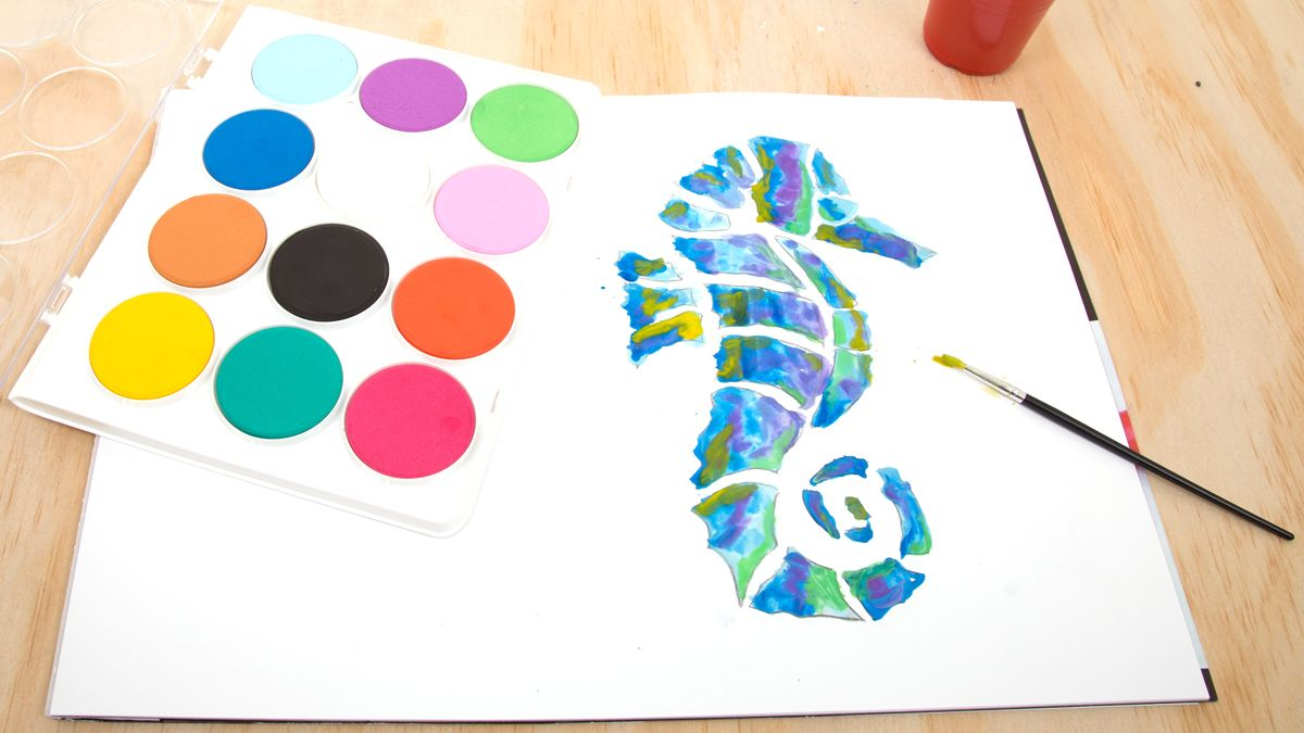 Jumbo Watercolour Palette Paper Seahorse Art Activities For Kids