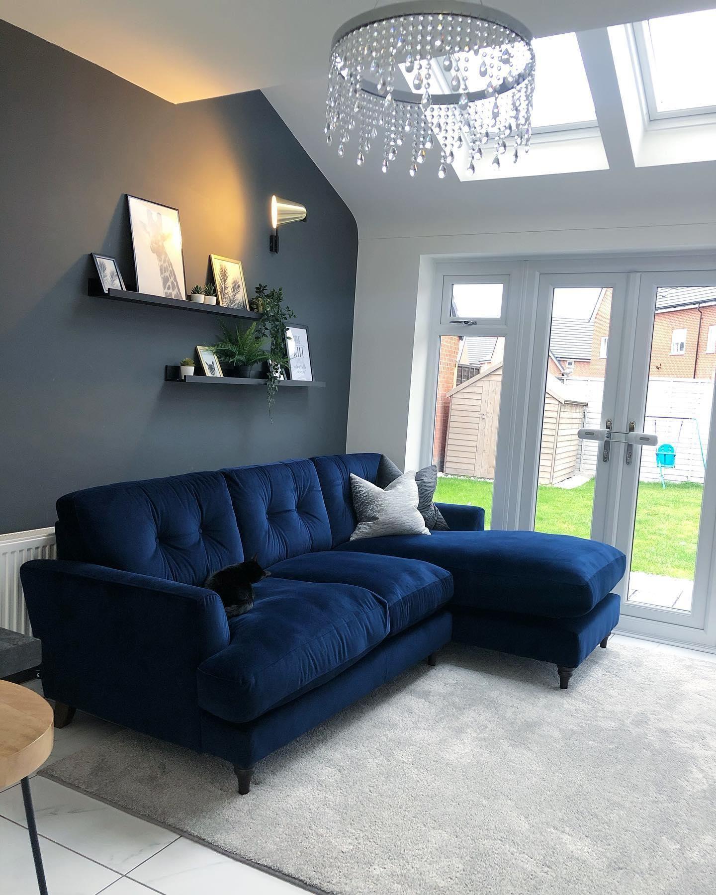 Patterdale Velvet Left Hand Facing Small Chaise Sofa Patterdale Velvet Blue Sofas Living Room Living Room Sofa Design Modern Sofa Living Room