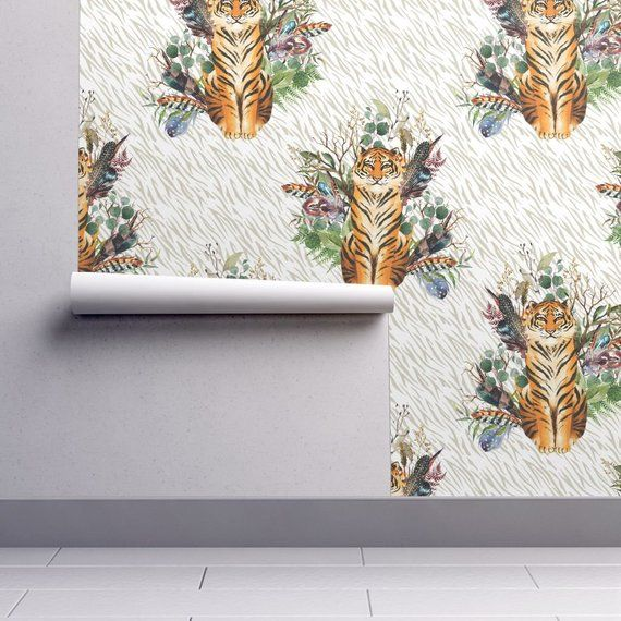 Tiger Wallpaper Boho Tiger Florals Taupe Stripes By