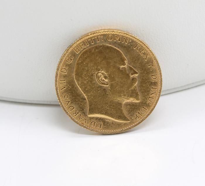 Estate Found 1906 English Edward VII Sovereign 916 Gold Coin England