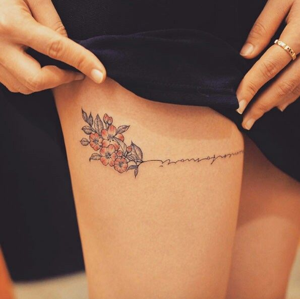 Tattoo Designs Writing: Flower Writing Tattoo