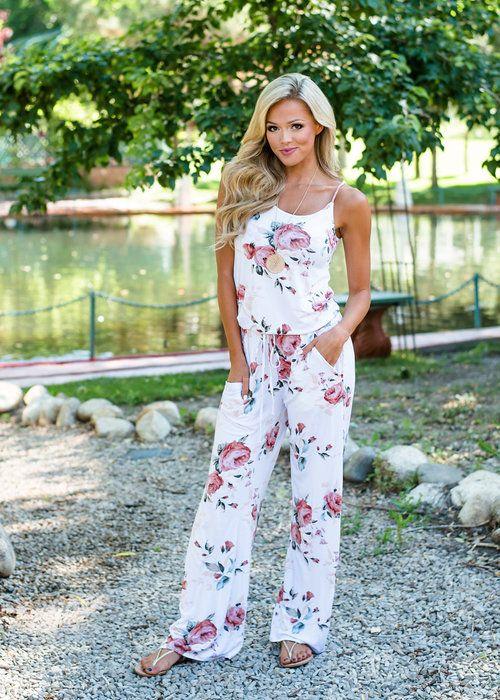 9d8e15ca2 Ivory Floral Jumpsuit, Boutique, Online Boutique, Women's Boutique, Modern  Vintage Boutique, Romper, White Romper, Floral Romper, Long Romper, Jumpsuit,  ...