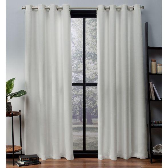 Exclusive Home Oxford Textured Sateen Thermal Room Darkening Grommet Top Window Curtain Panel Pair Home Curtains Grommet Top Curtains Curtains