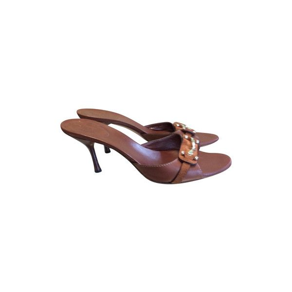 Pre-owned Mules (€150) ❤ liked on Polyvore featuring shoes, brown, gucci shoes, pre owned shoes, gucci mules, gucci and brown shoes