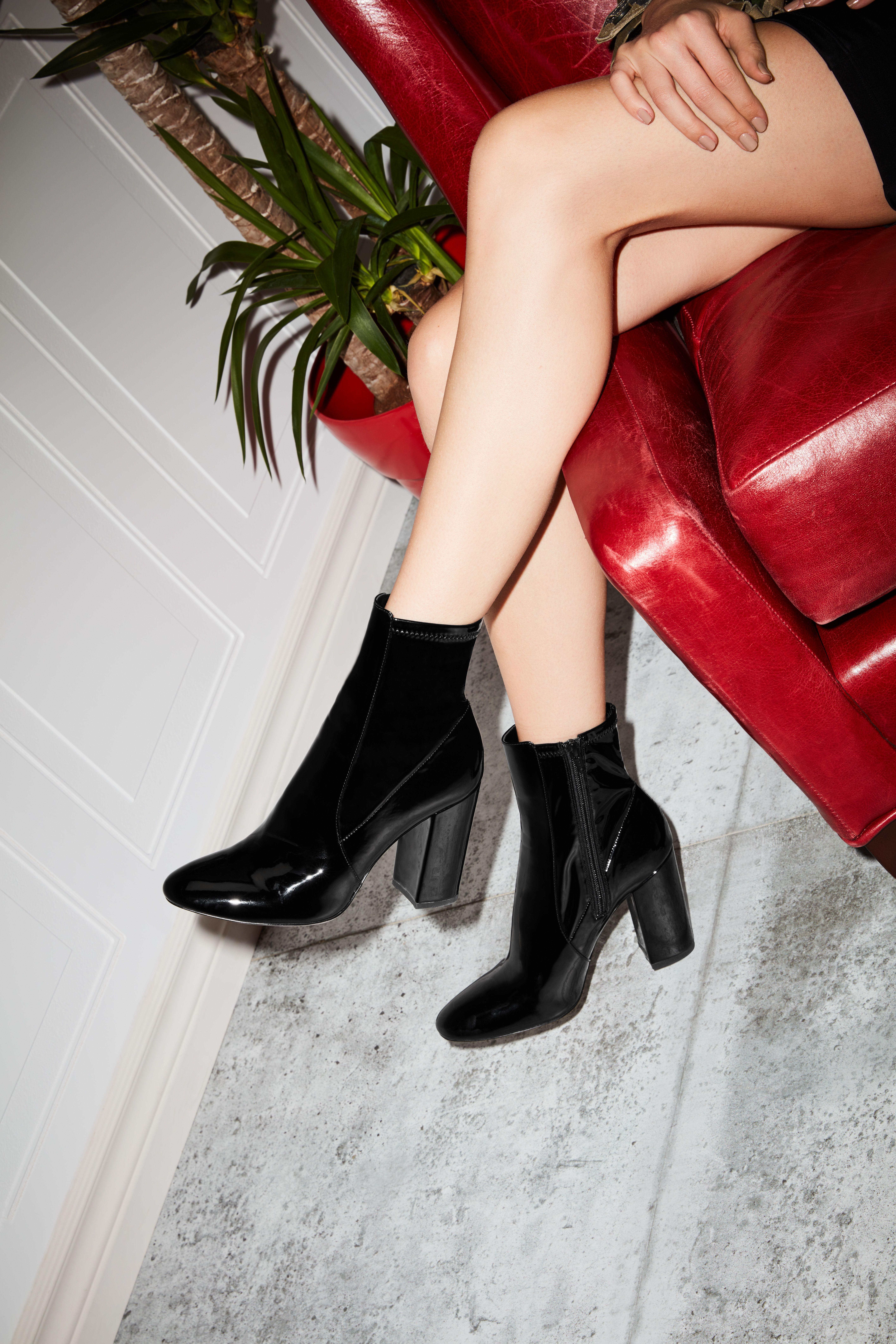 1ac5180fb23e Aurella Black Patent Women s Ankle boots