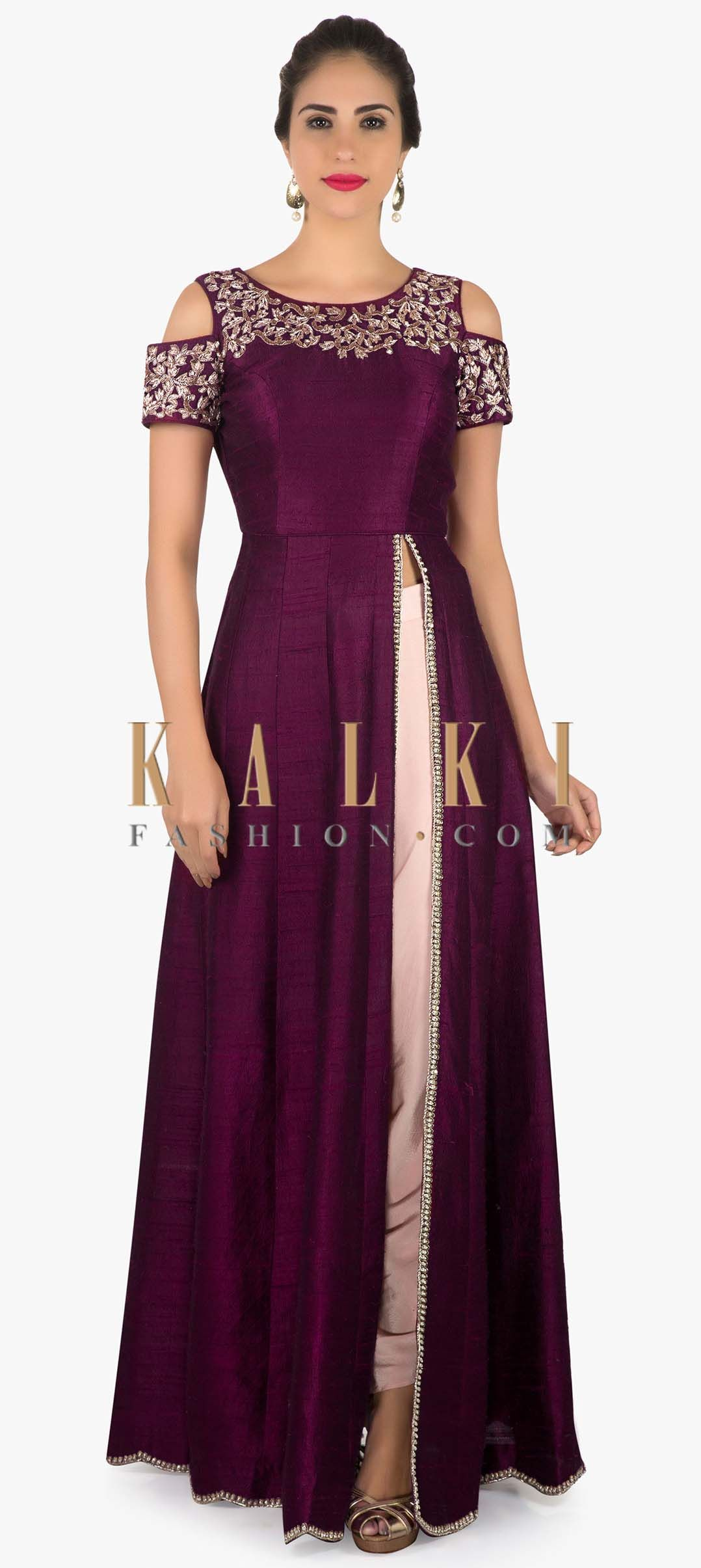 2582bb8dbbf0 Wine cold shoulder suit with embroidered neckline only on Kalki ...