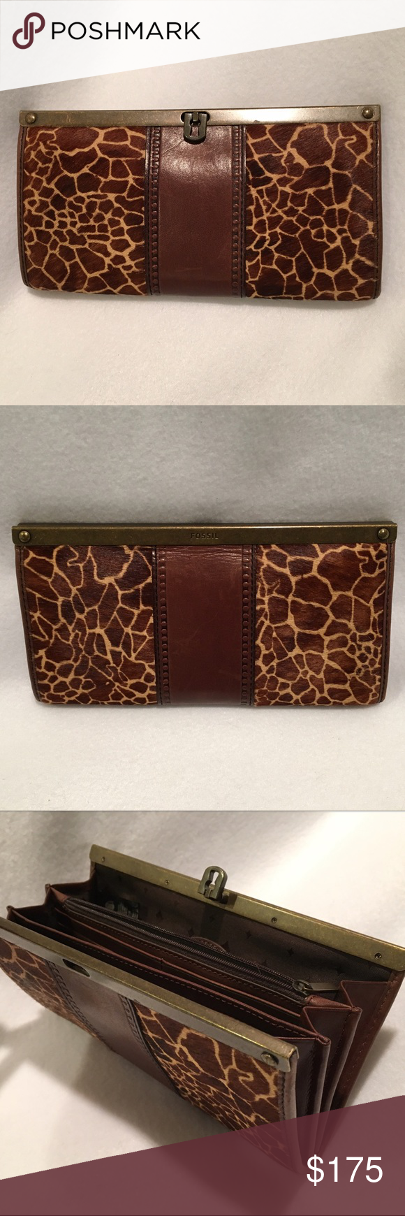 "Fossil Leather & Giraffe Print Pony Hair Wallet Fossil brown leather & Giraffe print pony hair / calfhair framed clutch / accordion wallet. Turnlock closure. 2 dividers, 1 zippered pocket, lots of credit card / ID slots, checkbook / cash slips. Lots of room. Will even fit an iPhone 6s. Like new - Perfect condition. Dimensions approx: 8"" x 4.5"". Matches Fossil Giraffe print shoes and Crossbody bag in nearby listings.  BUNDLE AND SAVE 10%  Fossil Bags Wallets"