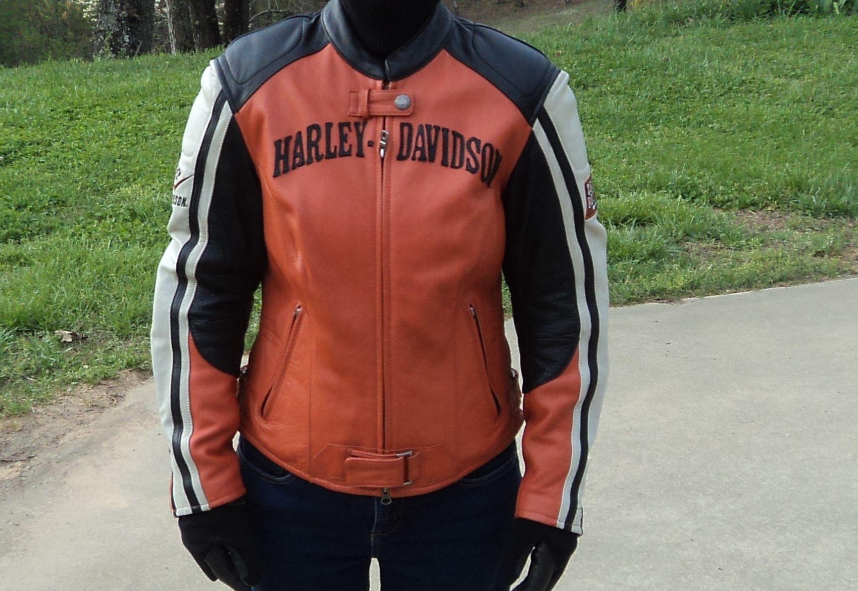 Harley Davidson Black Orange And Cream Leather Jacket Women S Orange Racing Small 150 00 Or Best Off Cream Leather Jacket Leather Jackets Women Racing Jacket [ 1195 x 1733 Pixel ]