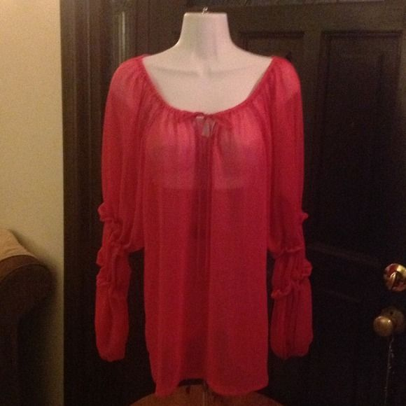 FLASH SALE---HOT PINK SHEER BOHO TUNIC This tunic is fun and flirty, can be worn several ways and will definitely brighten up your skinny jeans, leggings, layered etc. The fabric is a poly chiffon so it can be washed delicately and is pretty much wrinkle free. It's a great blouse that has many options & proudly.......... Made in the USA! PINK POLKA DOT Tops Tunics