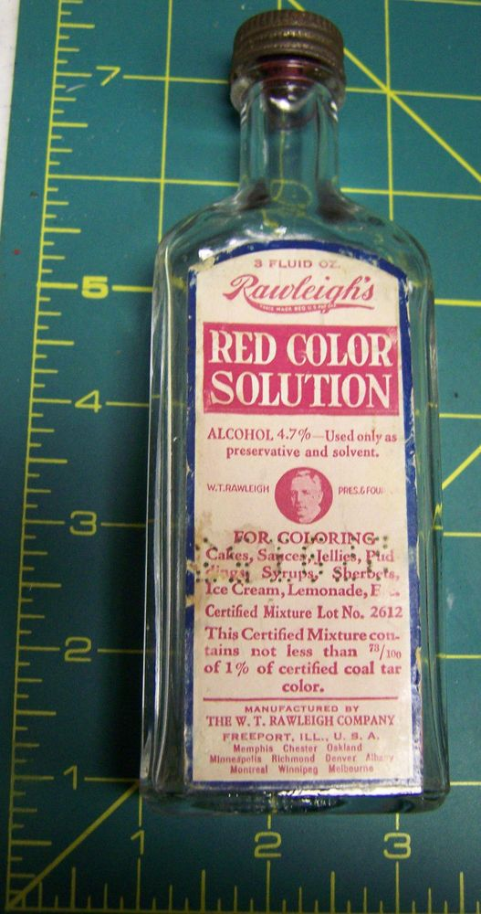 Rawleigh S Red Color Solotuion Rawleighs Red Food Coloring Glass Bottle Nice Red Food Coloring Glass Bottles Red Color