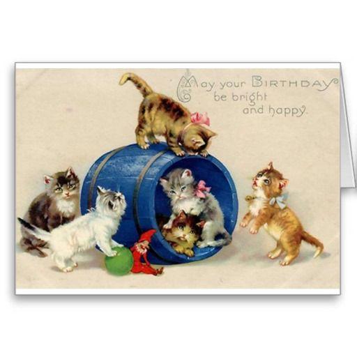 Victorian Kittens Birthday Card Zazzle Com Cat Birthday Card Vintage Birthday Cards Kitten Birthday