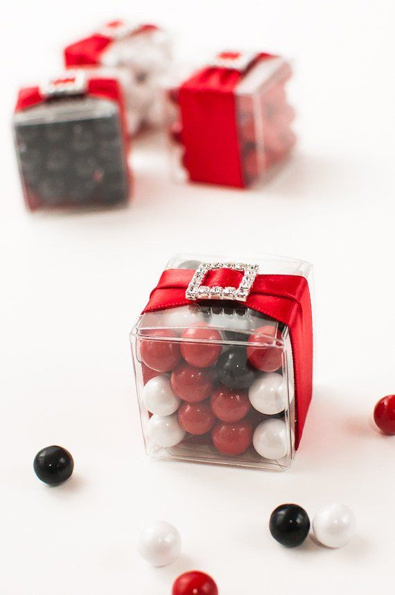 Black White Red Wedding Favors