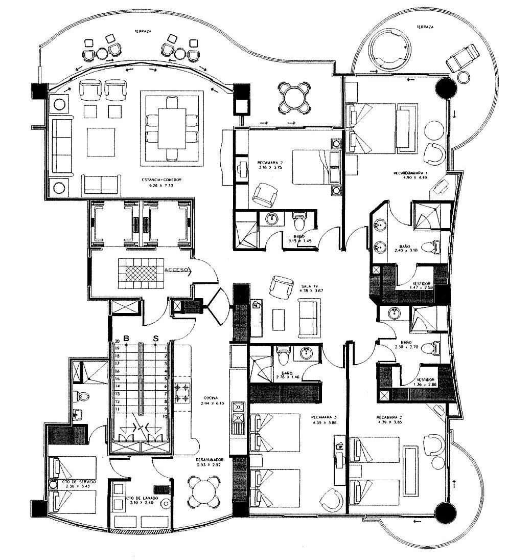 3 Bedroom Condo Floor Plans One Two Bedroom Luxury