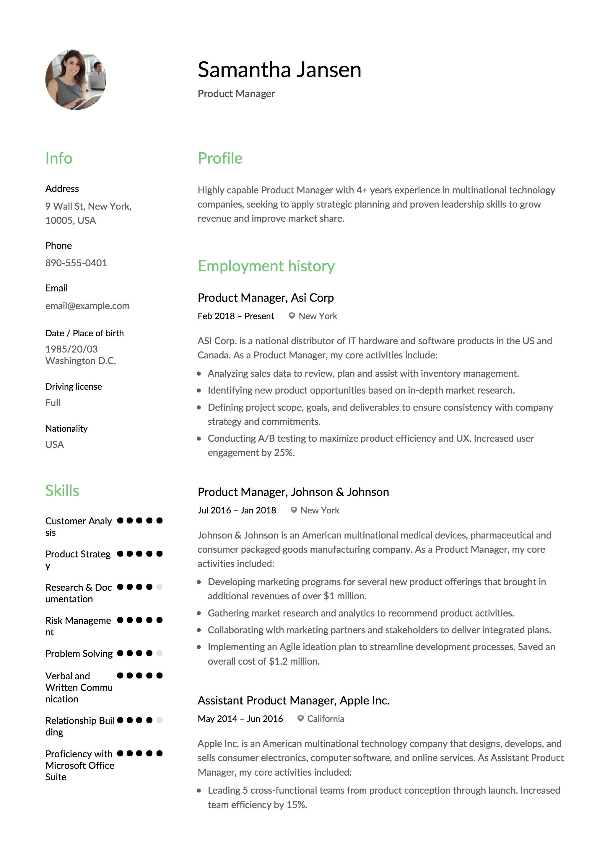 Resume Sample Canada Product Manager Resume Sample Template Example Cv Formal Design .