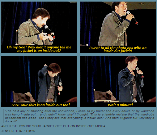 Jensen Pranked Him! I Was At This Convention! I Have A Photo Op With Misha  And His Inside Out Coat Haha U003c    Previous Pinner