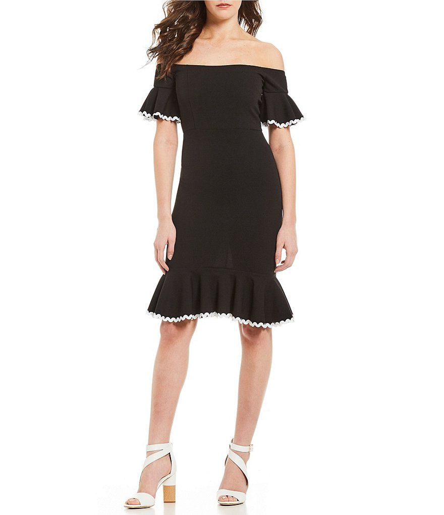 fec53f7d758 Gianni Bini Tia Off-the-Shoulder Flounce Hem Scuba Crepe Dress in ...