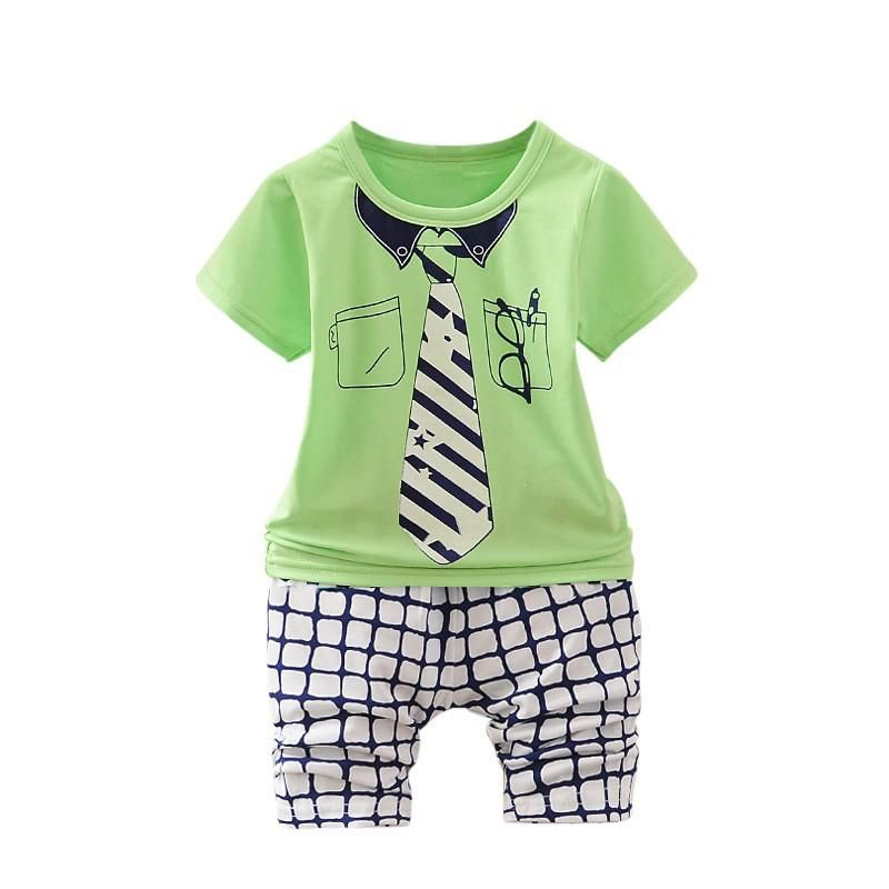 cdaf8ca4b83c 2PCS Baby Boy Clothes set Children Summer Toddler Boys Clothing set Cartoon 2018  New Kids Fashion Cotton Cute Tie pattern Sets. Yesterday s price  US  6.75  ...