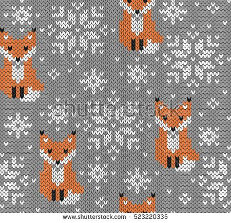 Foxes Jacquard Knitted Seamless Pattern Winter Background