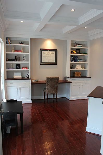 home office remodel with home made built ins, closet, home decor, home improvement, home office, woodworking projects, The same shot after the work was completed