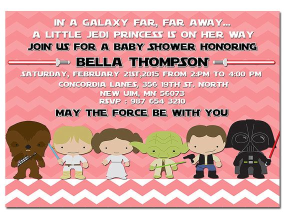 Star Wars Baby Shower Invitation Jedi Star By HappyDaysCreation