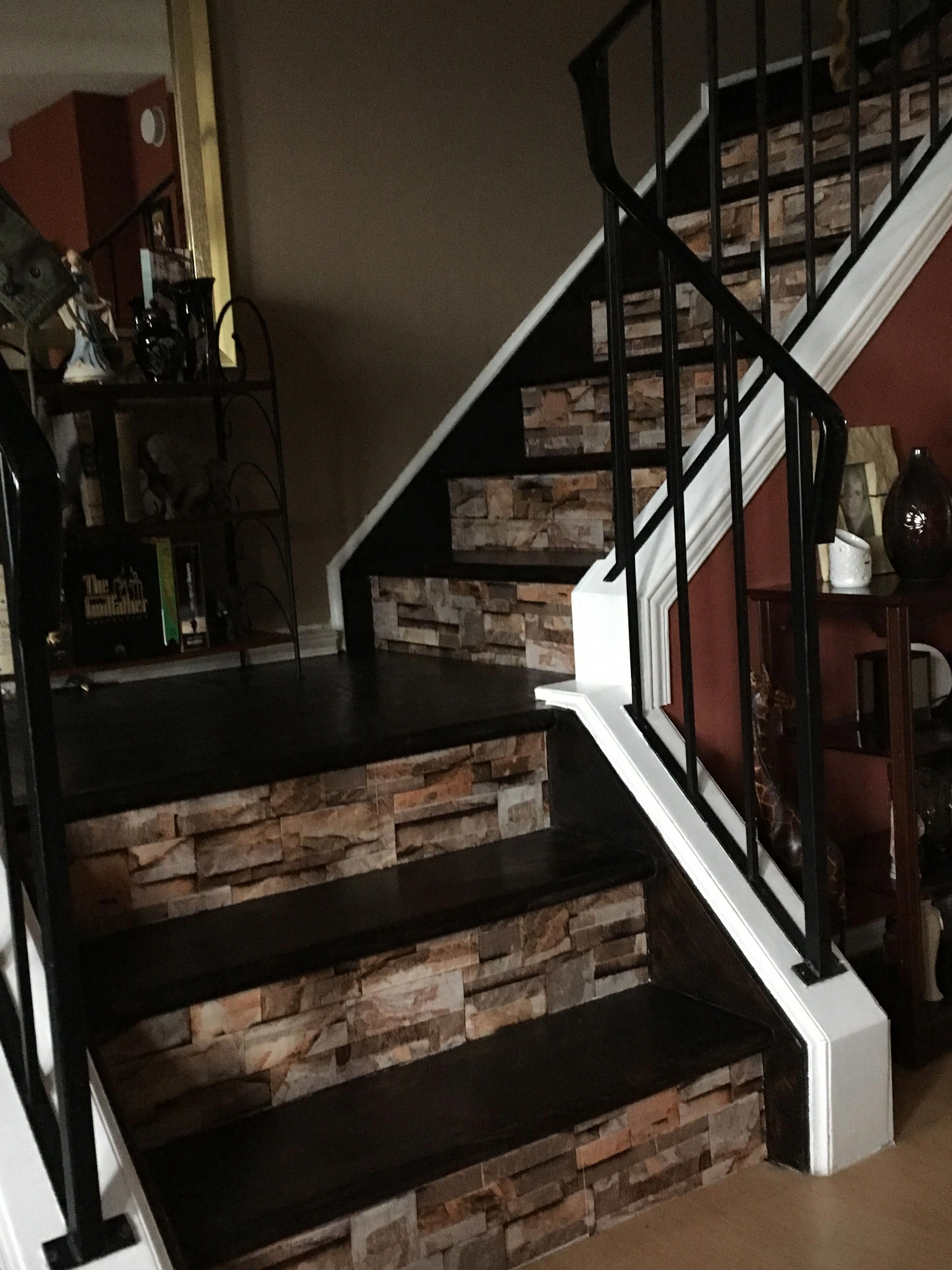 Basement Half Open Staircase White Spindles And Rising Steps