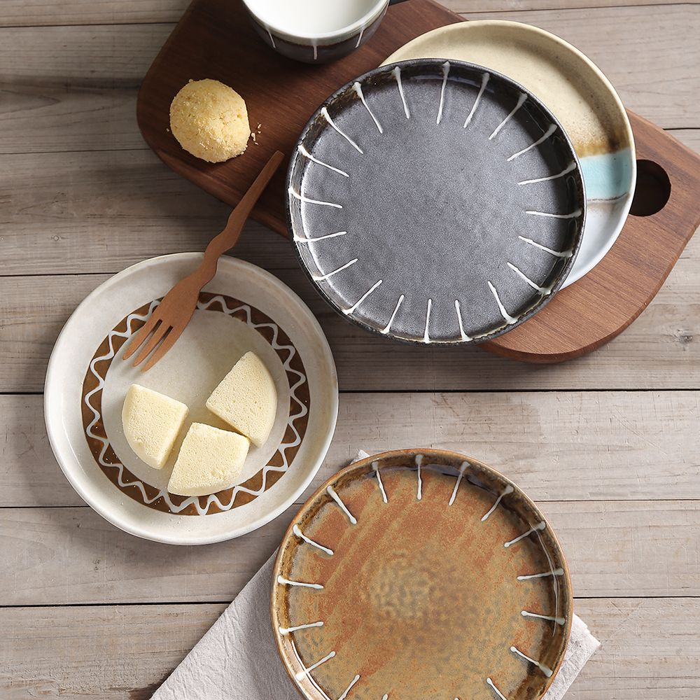Ceramic Plate Relish Dish Home Kitchen Dining Bar Tableware Japanese-style Creative Cutlery Set Round & Ceramic Plate Relish Dish Home Kitchen Dining Bar Tableware Japanese ...