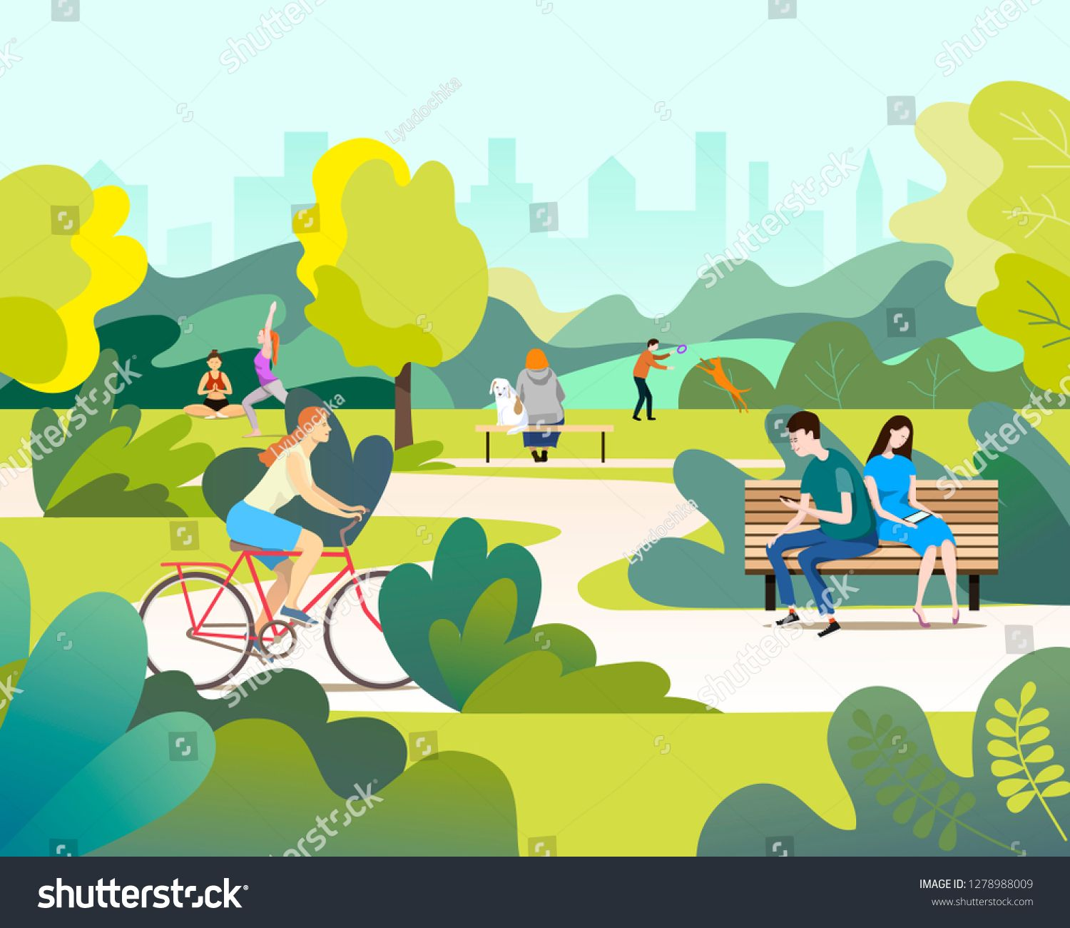 People Relaxing In Beautiful Urban Park Walking Riding Bicycle And Communicating City Park Vector Illustration Sponsor Urban Park Ride Bicycle Walking People